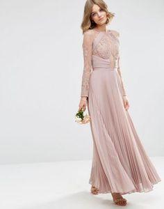 Vestido largo con detalle de plisado y bonito acabado con encaje de puntilla de ASOS WEDDING