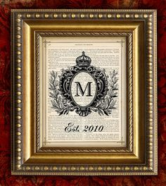 CROWN MONOGRAM DATE  Upcycled Book Page Art Print by EncorePrints, $10.00. From Amanda Nettles
