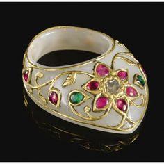 A gem-set jade archer's ring, India, circa 1800. Photo Sotheby's
