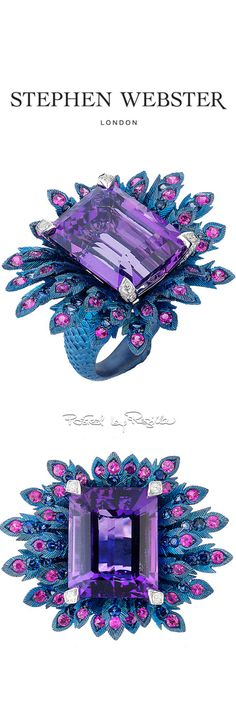 Regilla ⚜ Stephen Webster-a magnificent imagination! Love the colors! High Jewelry, Jewelry Rings, Jewelery, Unique Jewelry, Gemstone Jewelry, Diamond Jewelry, Stephen Webster, Turquoise And Purple, Pomellato