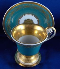 ANTIQUE 19THC KPM Berlin Porcelain Cup & Saucer Porzellan Tasse German Germany - CAD $522.51. For sale is a cup and saucer made by KPM around 1820. KPM used no painters mark like the red orb yet during this period thus you only have the blue scepter and impressed marks most of the time. It is hand painted with a nice gold design on a turquoise background as well as a saying in the front: Viel Glueck zu diesem Feste roughly translated to: Wishing you luck for this celebration / party....