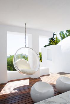 32 Interior Designs with Hanging Bubble Chair - MessageNote My New Room, My Room, Bubble Chair, Moderne Pools, Interior Decorating, Interior Design, Swinging Chair, Decoration, Home And Living