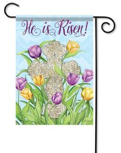 Easter Inspiration House Flag - x - Flag Trends - 2 Sided Message Easter Cross, He Is Risen, House Flags, Garden Flags, Vibrant Colors, Messages, Inspiration, Trends, Design