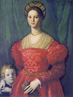 Bronzino - Portrait of a young woman with her little boy.