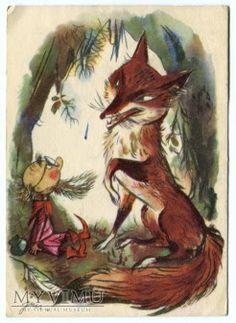 "Vintage Polish Postcard ""Tale of Dwarfs and Orphan Mary"" - 1967 Victorian Halloween, Cute Little Things, Magical Creatures, Children's Book Illustration, Fantasy World, Faeries, Cartoon Art, Illustrators, Fairy Tales"