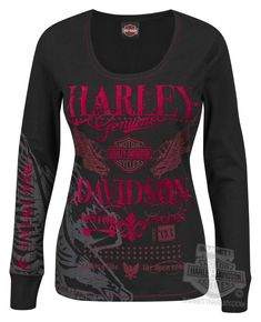 - Harley-Davidson® Womens Bad Moon Rising with Sparkle Flock Decoration Black Long Sleeve T-Shirt - Barnett Harley-Davidson®. and it's not so typical harley Harley Gear, Harley Shirts, Harley Davidson T Shirts, Harley Davidson Womens Clothing, Rock Elegante, Harley Apparel, Motorcycle Outfit, Mode Outfits, Biker Outfits