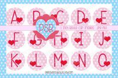 Valentine's Day Heart Pink Alphabet 1 Inch by PrissySissyBows