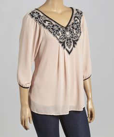This Light Pink & Black Sheer V-Neck Top - Plus by Chris & Carol is perfect! #zulilyfinds