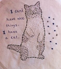 Funny cats quotes embroidery