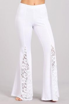 Chatoyant Ponte Lace Inset Bell Bottom Soft Pants - White - Lilly is Love Salwar Designs, Fashion Pants, Hijab Fashion, Fashion Dresses, Bell Bottom Pants, Bell Bottoms, White Lace Pants, Soft Pants, Angora