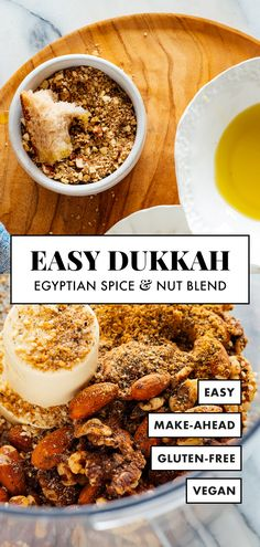 Learn how to make dukkah (duqqa) with this easy recipe! Dukkah is a nut and spice blend from Egypt—sprinkle it over bread dipped in olive oil, roasted vegetables, hummus and more! Mediterranean Appetizers, Spicy Nuts, Egyptian Food, Savarin, Spice Blends, Spice Mixes, Middle Eastern Recipes, Roasted Vegetables, Carne