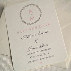 'Wreath' Wedding Save The Date Cards