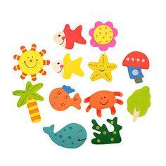 12pcs Kids Baby Wood Wooden Cartoon Pattern Fridge Magnet Child Toy Gift