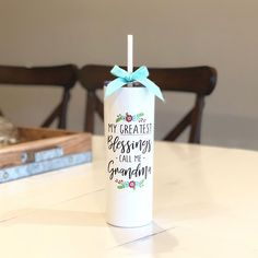 Grandma Skinny Metal Tumbler - Mother's Day Gift - Custom Water Bottle - 20 oz Tumbler with Straw - Baby Announcement - Custom Travel Cup Cheap Mothers Day Gifts, Mothers Day Gifts From Daughter, Mothers Day Crafts For Kids, Mother Gifts, Gifts For Mom, Diy Mother's Day Crafts, Diy Straw, Mother's Day Gift Baskets, Custom Water Bottles