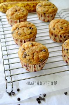 Banana Chocolate Chip Power Cakes- Super moist protein-packed banana muffins with no oil or butter. Picky kid approved!