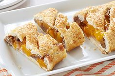 Peach Pecan Strudel- It s easy to get wrapped up in this peachy-sweet, pecan treat made with our Perfect Flaky Pie Crust Video Technique.