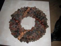 christmas wreath lrch cones, chestnut and beech shells