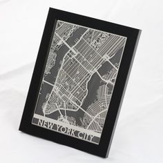 Stainless Steel framed NYC map