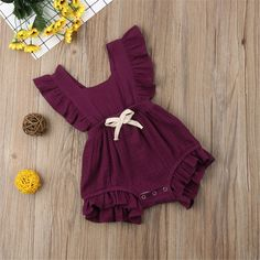 Baby Girls Ruffle-sleeve Solid Romper – My World Baby Girls, Cute Baby Girl Outfits, Trendy Baby Clothes, Kids Outfits Girls, Cute Outfits For Kids, Baby Kids Clothes, Cute Little Girls, Baby Outfits Newborn, Toddler Outfits