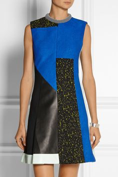 Proenza Schouler|Paneled leather and textured-crepe mini dress