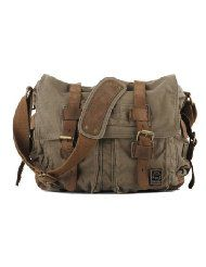 "Amazon.com: Men's Trendy ""Colonial"" Italian Style Messenger Bag with Leather Straps - Army Green from I am Legend"