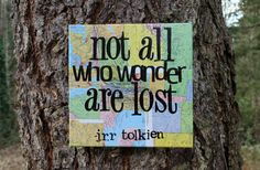 "Graduation gift!! 12x12 Vintage Map Canvas ""Not all who wander are lost"" by JRR Tolkien."