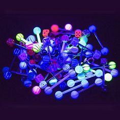 Tongue Nipple Piercing Barbells - 50pk 14ga UV light glow - 316L Surgical Steel and Bioflex