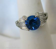 Silver Plated1.5ctw Blue Sapphire Solitaire and White Topaz Accent Ring Sz 8.5