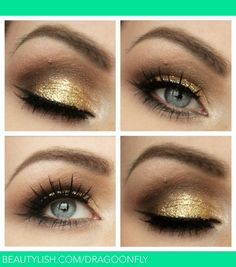Shine brightest of them all, gold eyeshadow