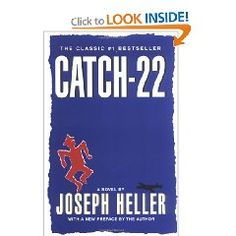 Catch 22  by Joseph Heller    This book was banned and/or challenged more than once. It was banned in Srongsville, Ohio in 1972 and that decision was overturned in 1976. It was also challenged in Dallas, Texas (1974) and again in Snoqualmie, Washington (1979).
