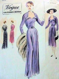 1950 BEAUTIFUL EVENING GOWN DINNER DRESS PATTERN VOGUE COUTURIER DESIGN 602