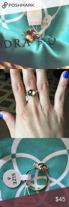 """K e n d r a  S c o t t  J u d y  R i n g  Kendra Scott Judy Ring in Gold Smokey. NWT. In excellent condition!                                       Size 6.                                                               3/8"""" W x 1/2"""" L setting.                                           14k-gold plate/glass or magnesite. Kendra Scott Jewelry Rings"""