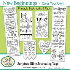 NEW BEGINNINGS New Year Color Your Own Bookmarks Bible Journaling Tags Tracers