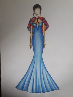 Long marmaid frock n cape with cold shoulder illustration by shalini sonti