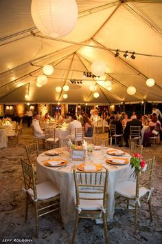 Table Setting #GoldAndWhite #PaperLanterns #ChivariChairs #YourMiamiWedding