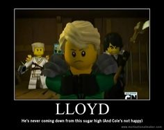 LOL and Zane is just angrily looking at Lloyd too. What do you expect! He ate my cake! Lego Ninjago Lloyd, Lego Ninjago Movie, Lego Movie, Funny Images, Funny Pictures, Ninjago Memes, Custom Lego, Legos, Lego Lego