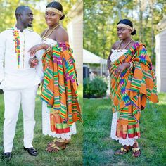 African tradition at its best! A lovely Kente adornment by Abena and an elaborately made African wear on Koby. African Wear, African Attire, African Style, Ghanaian Fashion, African Fashion, Ghanian Wedding, Ghana Style, Afro Style, African American Weddings