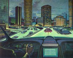 """RCA Transistors Will Run Your Electronic Car of Tomorrow"" - Arthur Radebaugh illustration for 1964 advertisement."