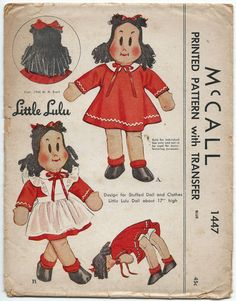 1940s Vintage Sewing Pattern McCall 1447 Craft Little Lulu Stuffed Doll