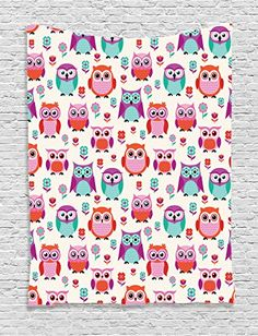Owl Tapestry Home Decor by Ambesonne, Owls Happy Childhood Hipster Modern Style Repeated Animals Theme Pattern, Bedroom Living Room Dorm Wall Hanging Tapestry, Orange Purple Dark Cyan ** You can find more details by visiting the image link.