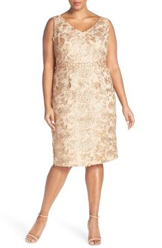 Cocktail length neutral Mother-of-the-Bride dress | Embellished Embroidered Lace Sheath Dress (Available in Plus Size)