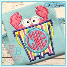 Crab Monogram Bucket Applique