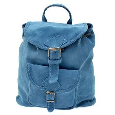 Suede Leather Backpack, Handmade in Greece, Radiant Colors Aqua, Baby Blue
