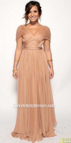 Demi Lovato ALMA Awards 2011 Chiffon Red Carpet Formal Celebrity Dress