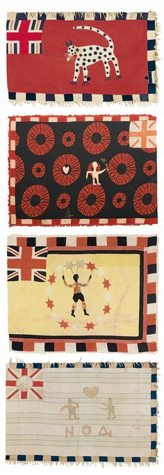 Africa | Four Fante Asafo flags from Ghana | Cotton appliqué || Sotheby's; Alistair McAlpine Textiles, Part I. Lot 18, 98, 97 and 17