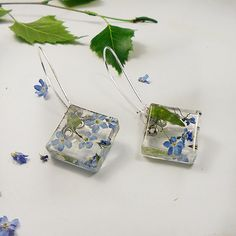 Dangle Earrings Earrings With Real Bright sky Blue Flowers Rustic Square Long Drop Natural Dry Herbs Statement Resin Jewelry Sapphire Blue
