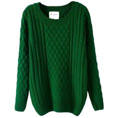 JOLLYCHIC Women's Cable Knit Thick Jumper Tunic Sweater ($23) ❤ liked on Polyvore featuring tops, sweaters, shirts, jumper top, jumper shirt, shirts & tops, green cable sweater and jumpers sweaters
