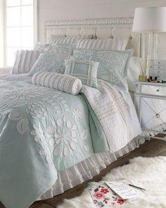 -34WX Dena Home  Standard Cloud Aqua Sham w/ Floral Applique
