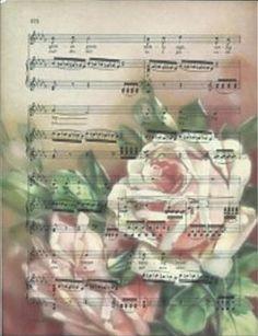 Vintage-look muziekblad Rozen