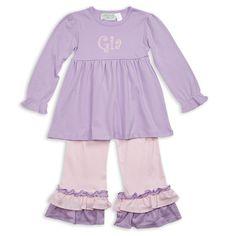 Lavender Light Pink Empire Ruffle Cotton Pant Set